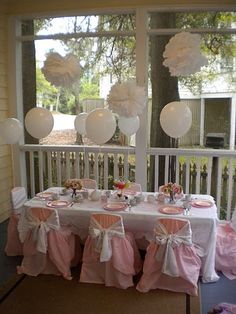 cute birthday party idea for little girls I wanna do a tea party for Rayna's birthday this year. This is so pretty.