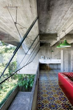 From Interior Design mag - this Paulo Mendes da Rocha architecture may be brutalist but the natural patina on the concrete with the joyful colors is delightful Architecture Design, Windows Architecture, Deco Design, Design Design, Brutalist, Interior Exterior, My Dream Home, Beautiful Homes, Beautiful Space