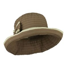16e5f3965a4 Amazon.com   Jeanne Simmons Two Toned Travel Ribbon Bucket Hat with Bow for  Women (Brown)   Beauty
