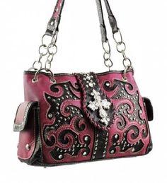 Pink Studded Cross Shoulder Bag with Rhinestone & Studs   #HBM #Hobo