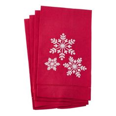 Add some cheer to your holiday table with these linen-cotton napkins from Saro Lifestyle in seasonal red with a festive snowflake design - (Set of 4 pieces) Pattern: Solid. Snowflake Embroidery, Hand Embroidery Patterns, Floral Embroidery, Embroidery Designs, Hand Towel Sets, Hand Towels, Tea Towels, Thoughtful Christmas Gifts, Turkish Cotton Towels