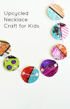 Upcycled Necklace Craft for Kids~Fun after school activity or summer camp craft