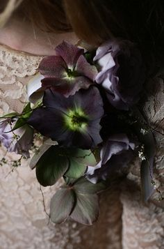 Flower pin by Amy Merrick: #flowers #purple: http://www.etsy.com/blog/weddings/the-antique-anti-bouquet/