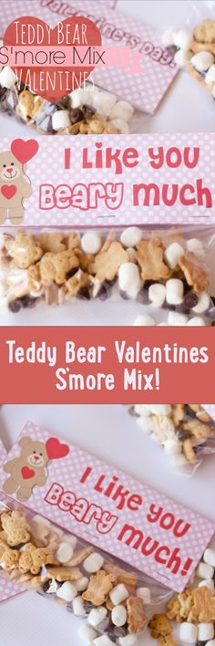 Teddy Bear Valentines S'more Mix plus free printable bag toppers!!