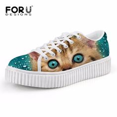 Casual Women Flats Animal Kitty Cat Print Girls Creepers Platform Shoes Lace Up Woman Loafer Female Round Toe Low-top Shoes