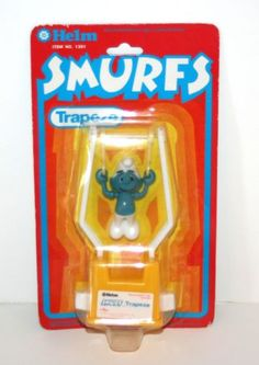 Vintage-1981-Helm-SMURF-Trapeze-Figure-In-Original-Packaging-The-Smurfs
