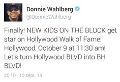 New Kids On The Block getting a star on the Hollywood Walk Of Fame