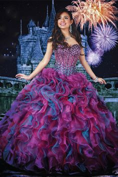 Multi Color Sweetheart Quinceanera Dress Ball Gown Floor Length With Beaded Bodice