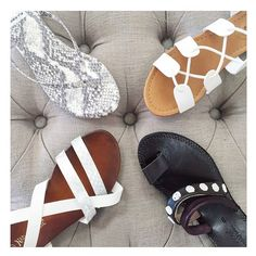 It's a white hot summer! Some of our favorite white sandals to beat the heat, or at least look good trying #whitehot #summersandals #leather #laceupshoes #flipflopseason #shoesoftheday