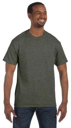 Gildan Heavy Cotton 5.3 oz. T-Shirt, 3XL, HTHR MILITARY GREEN. Business Use: Best for team sports; New product launches; Charities; Construction; Warehouse personnel; Outdoor etc. Attractive Colors: The G500 is available in over 63 color. Made with 5.3 oz. 100% preshrunk cotton. Double-needle stitching throughout gives clean look. Seamless rib at neck and taped shoulder-to-shoulder.