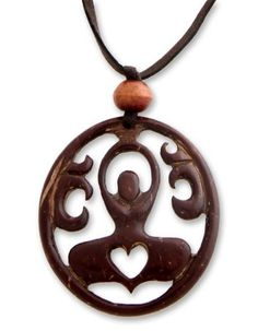Coconut shell pendant necklace, 'Sukhasana Yoga' NOVICA. $26.29. A fair trade product. Normally ships directly from Bali & Java within 10 days.. Handmade by Komang Agus Saputra.