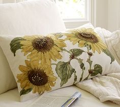 Sunflower Embroidered Lumbar Pillow Cover #potterybarn-idea-but patterned material, embroidery part of it-make pillow-save$$
