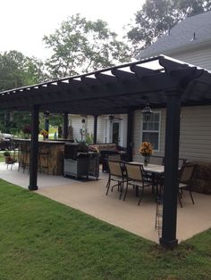 Backyard porch ideas on a budget patio makeover outdoor spaces best of i like this open layout like the pergola over the table grill Hinterhof Veranda