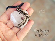 Rose quartz heart necklace Gemstone pendant Girlfriend by Ianira
