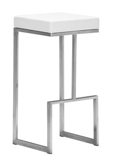 Darwen Bar Stool in White Leatherette & Brushed Stainless Steel (Set of 2)