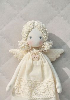 Artículos similares a rag doll angel Textilе Tilda doll en Etsy Doll Making Tutorials, Angel Crafts, Doll Painting, Child Doll, Fairy Dolls, Soft Dolls, Diy Doll, Doll Face, Doll Patterns