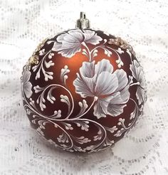Bronze Floral 3D White MUD Ornament XL with by MargotTheMUDLady