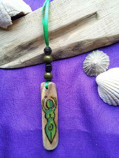 Driftwood Goddess Pentagram & Spiral Energy Bag/Car Charm. PAGAN Witch Wicca Fae