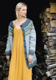 "Nr 9 ""Polar"" damekofte pattern by Sandnes Design Icelandic Sweaters, Wool Sweaters, Crochet Cardigan, Knit Crochet, Norwegian Knitting, Fabric Embellishment, Fair Isle Knitting, Cute Fall Outfits, Knit Fashion"
