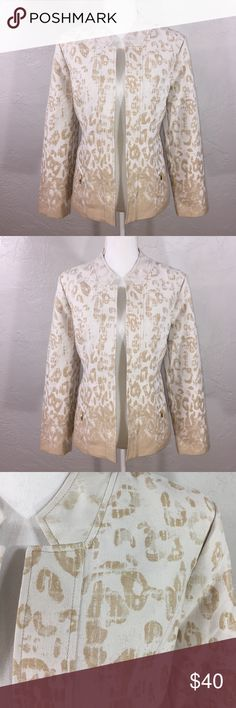 Chico's off white gold leopard ombré open jacket Chico's off white gold leopard ombré open jacket. Fully lined. Polyester cotton. 25 inches from shoulder to hem. 16.5 inches from shoulder to shoulder in back. Approx 22.5 inches from pit to pit in back. Chico's size 1, equivalent to size 8 or medium Chico's Jackets & Coats