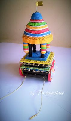 :) model: suchindram and melkote chariot mixed :) Kalash Decoration, Thali Decoration Ideas, Arch Decoration, Balloon Decorations, Diwali Craft, Diwali Diy, Quilling Dolls, Paper Quilling, Hobbies And Crafts
