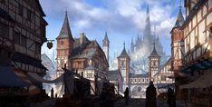 Medieval city by Jung yeoll Kim on ArtStation. Medieval City, Vila Medieval, Medieval Houses, Medieval Fantasy, Fantasy Town, Fantasy Castle, Fantasy World, Landscape Concept, Fantasy Landscape