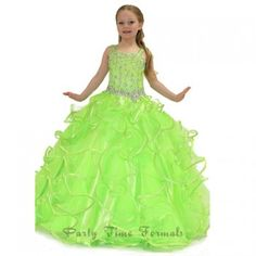 A beautiful pageant gown for your toddler or little girl by Party Time Formals. Long little girl pageant ball gown with sequin and crystal embellished on bodice and straps.  Crystal embellished waist line and full soft tulle ruffled skirt and zip up back.