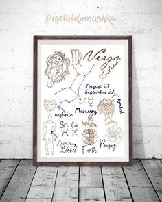 Virgo Astrological Zodiac Virgo Art Print Virgo Star Sign Modern Art Print Modern Personalized Gift Art Print Zodiac Print Virgo Poster by DigitalRomashka on Etsy https://www.etsy.com/listing/497314444/virgo-astrological-zodiac-virgo-art