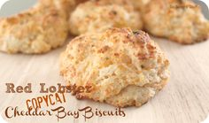 Red Lobster Copycat Cheddar Bay Biscuits Recipe from sixsistersstuff.com.  Leave the garlic off of the top.
