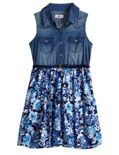 Denim And Floral Belted Dress | Girls Dresses Clothes | Shop Justice