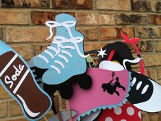 SOCK HOP Buttons Sewing Scrapbooking Roller Skates Retro Card Making Stamping