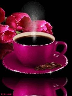 Good morning hot pink coffee and tulips good morning gif, good morning coffee, good I Love Coffee, Best Coffee, Coffee Break, My Coffee, Coffee Cups, Tea Cups, Happy Coffee, Coffee Menu, Coffee Drinks