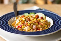 Navy Beans with Hatch Green Chile. Navy Beans Hatch green chile corn and a few other ingredients for a hearty one pot meal. Side Recipes, Bean Recipes, Healthy Recipes, Chili Recipes, Strawberry Fig Preserves, Main Dishes, Side Dishes, Navy Bean, Easy One Pot Meals