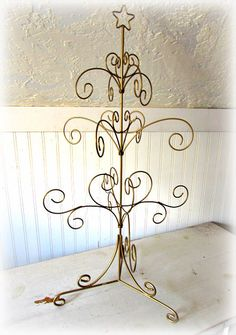 Table Top Wire Tree /  Shabby Chic Wire Tree /  Gold Metal Christmas Tree /  Ornament Hanger / Jewelry Hanger