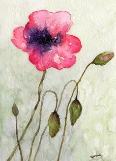Pink Poppy Giclee PRINT from originl watercolor painting8.5x11. $20.00, via Etsy.