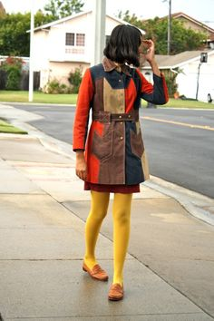 vintage coat and yellow tights