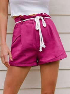 ((Affiliate Link)) Description Style:	Casual Color:	Red Violet Pattern Type:	Plain Details:	Belted, Button, Pleated, Zipper Type:	Wide Leg Season:	Summer Composition:	100% Cotton Material:	Cotton Fabric:	Non-stretch Sheer:	No Fit Type:	Loose Waist Type:	High Waist Closure Type:	Button Fly, Zipper Fly Belt:	Yes