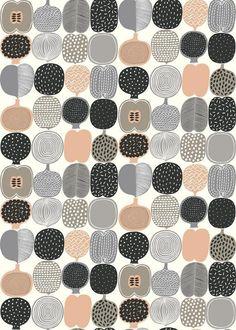 Kompotti Pink - Marimekko Wallpapers - A fun, bold fruit motif design… Marimekko Wallpaper, Pink Wallpaper, Pattern Wallpaper, Motif Design, Surface Pattern Design, Pretty Patterns, Color Patterns, Simple Prints, Pattern Illustration