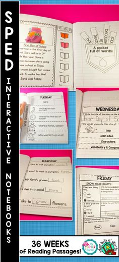 SPED-Interactive Notebooks. Year Long Set! Weekly story, WH questions, Cut and Paste options for non writers. EASY straight line cutting, and Weekly Assessment! $