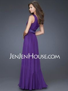A-Line/Princess One-Shoulder Floor-Length Chiffon Charmeuse Prom Dresses With Ruffle Beading (018004855) - JenJenHouse.com
