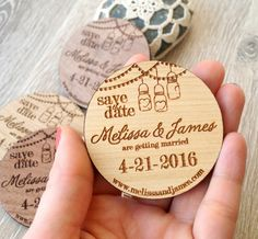 Wooden Save-the-Date magnets mason jar by CorkCountryCottage