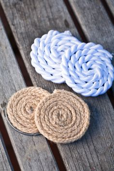DIY Nautical Rope Coasters.  All you need is rope, a juice can lid, and hot glue!