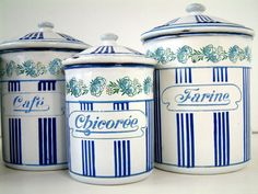 RARE model french enamel kitchen canister set. White by Chanteduc, $410.00
