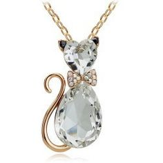 18K Gold Plated Crystal Cat Necklace