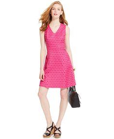 Tommy Hilfiger Diamond-Print A-Line Dress - Dresses - Women - Macy's