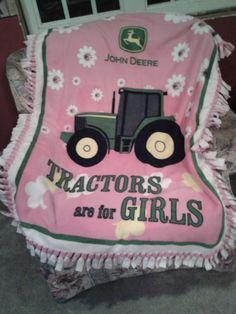 John Deere in pink! Cozy fleece blanket by bikermomma Cute Kids, Cute Babies, Baby Kids, Future Daughter, Future Baby, Pink Tractor, John Deere Party, Girl Nursery, Girl Room