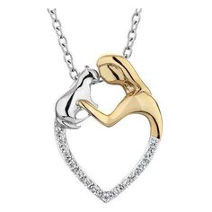 Sterling Silver Aspca Tender Voices Two-Tone Diamond Cat Love Pendant... ($200) ❤ liked on Polyvore
