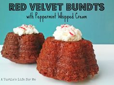 Red Velvet Bundts with Peppermint Whipped Cream by A Turtle's Life for Me