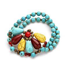 Turquoise Flower Stretch Bracelet