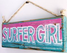 Shabby Chic Beach Decor Surfer Girl Beach Sign with Ocean Wave Design on Reclaimed Wood Surf Baby Beach Baby Nursery Beach Themed Kids Room